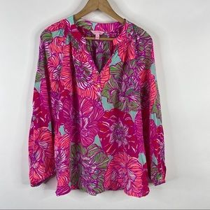 Lilly Pulitzer Top Silk Elsa Blouse Worth It Print
